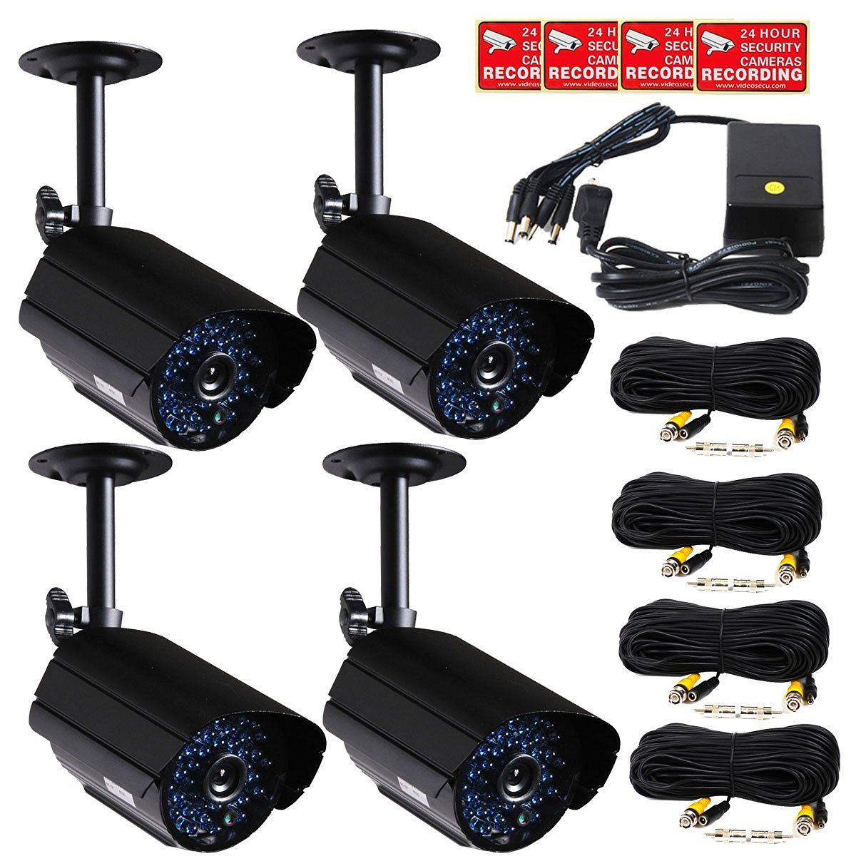 Buy VideoSecu 4 x CCTV Outdoor Day Night Vision Bullet Security ...