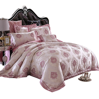 Pink Double Sides Design Jacquard King 100% Cotton Printed Sheet Stock Eco-friendly Europe Style Home Bedding Set
