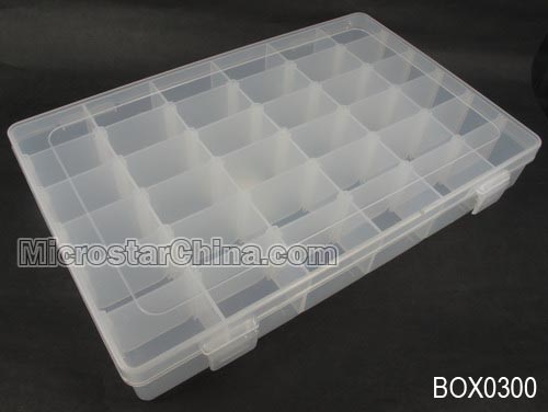 27.6*17.8*5.3cm Clear plastic beads container with 36 compartments