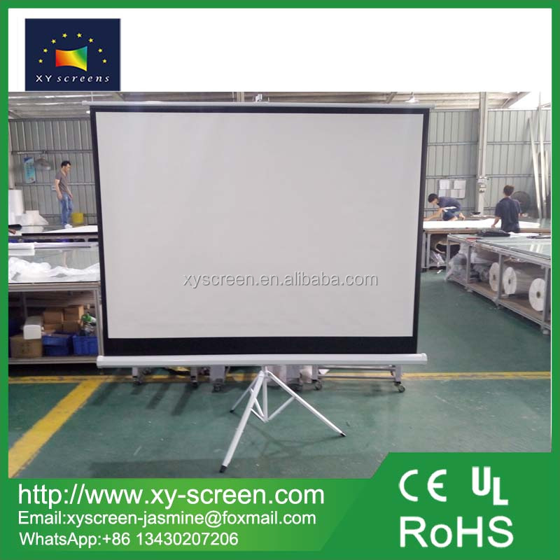 Daylight outdoor cinema portable tripod projector screen with round tripod
