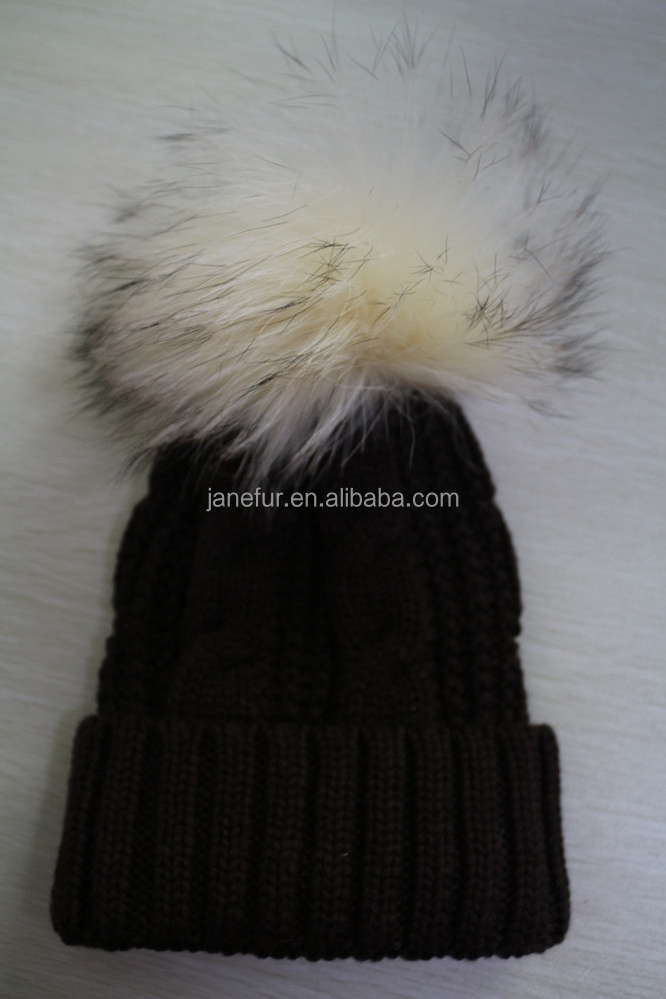 8876a468e37 Woolen knitted Real Fur Bobble Hats Women Winter Caps New Girls Sex Fashion Hats  Caps Apparel