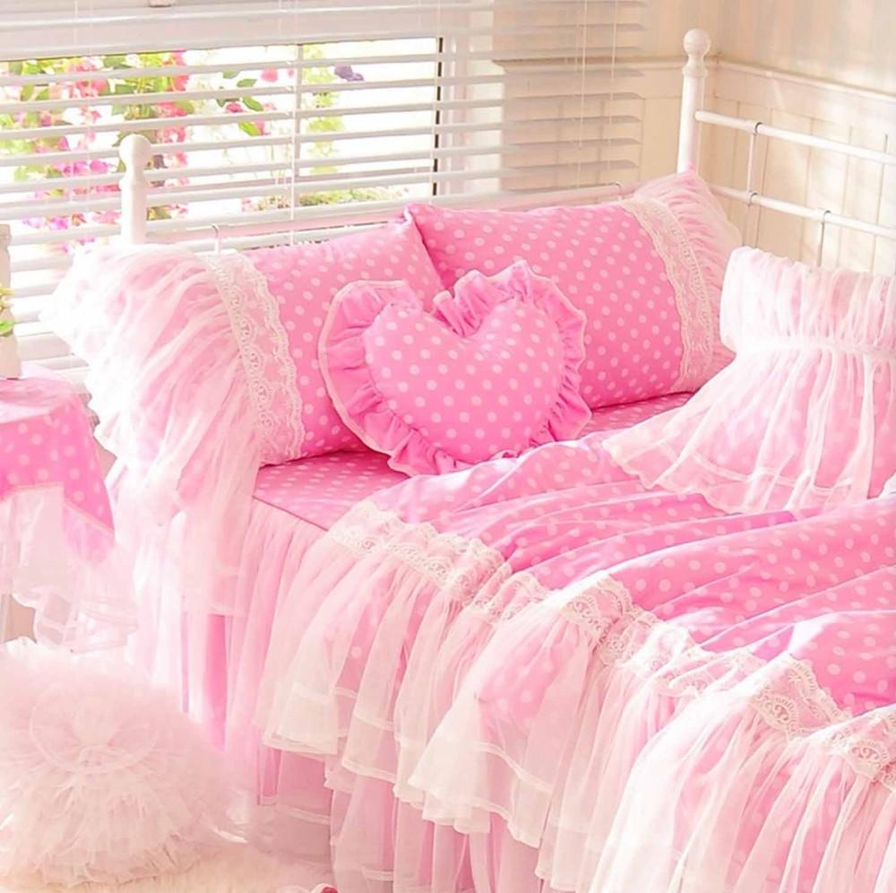 appealing teen girls bedroom bedding sets | Cute Pink Polka Dot Bedding Set Teen Girl,Cotton Twin Full ...