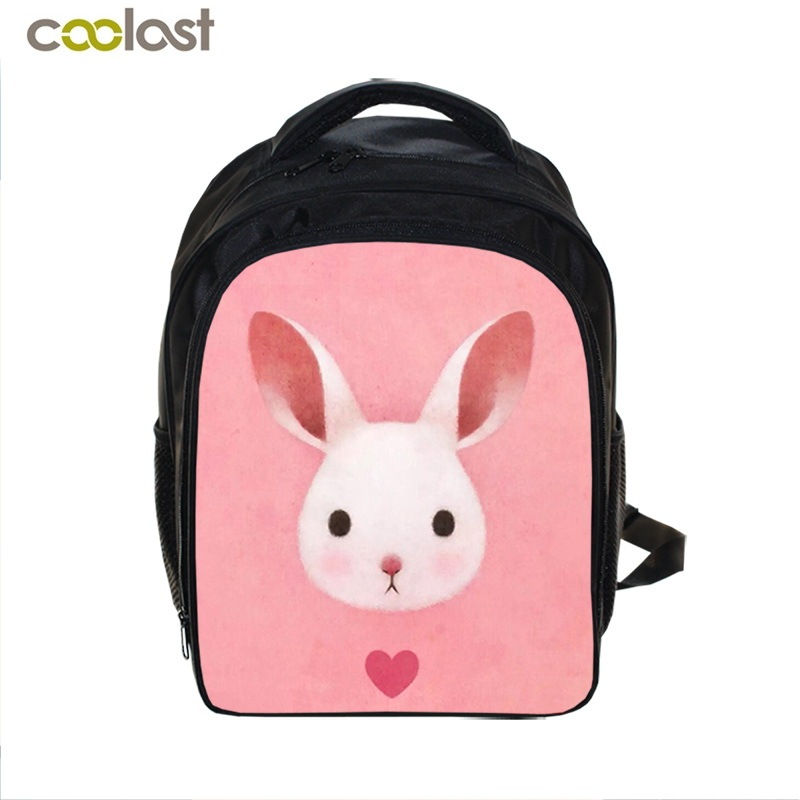 "2017 13"" New Cute Rabbit Beautiful Backpack 3D Printing Characters Backpack For Kids School Bags For Children School Bags"