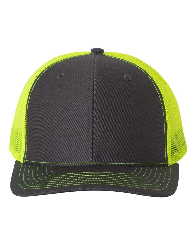 Richardson Trucker Snapback Cap,Charcoal/Neon Yellow,Adjustable