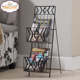 Factory Directly Black Finish Metal 2 Tier Magazine Rack Stand