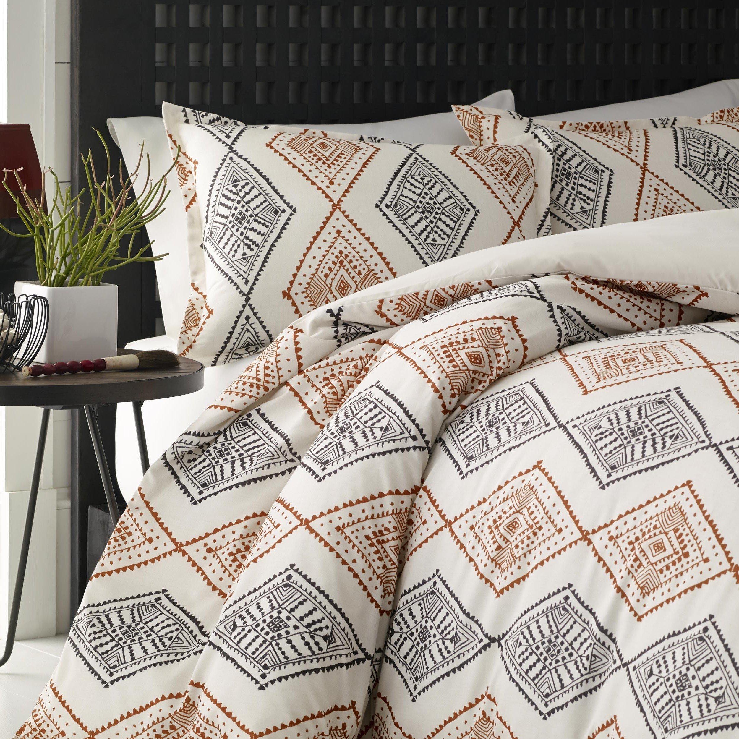 d81d781f3430 Get Quotations · 5 Piece Burnt Orange Grey Off White Aztec Southwest Theme  Comforter Full Queen Set