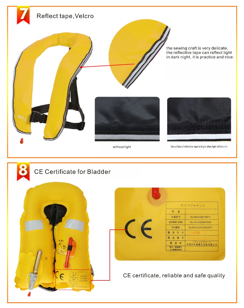 SOLAS approved inflatable life jacket