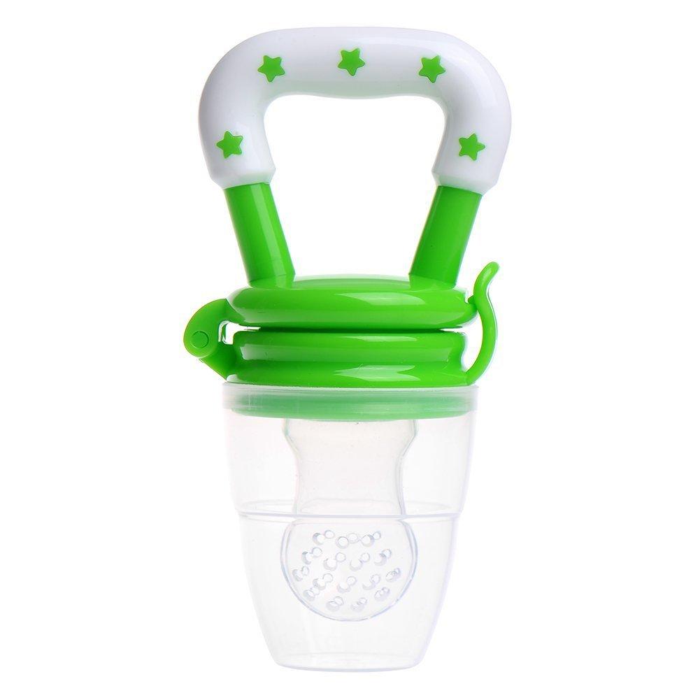 Fuyamp Baby Fresh Food Feeder Soft Silicone Nipple Toddler Fruit Feeding Pacifier Green L