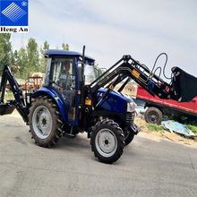 China 100HP farm tractor with front end loader and backhoe