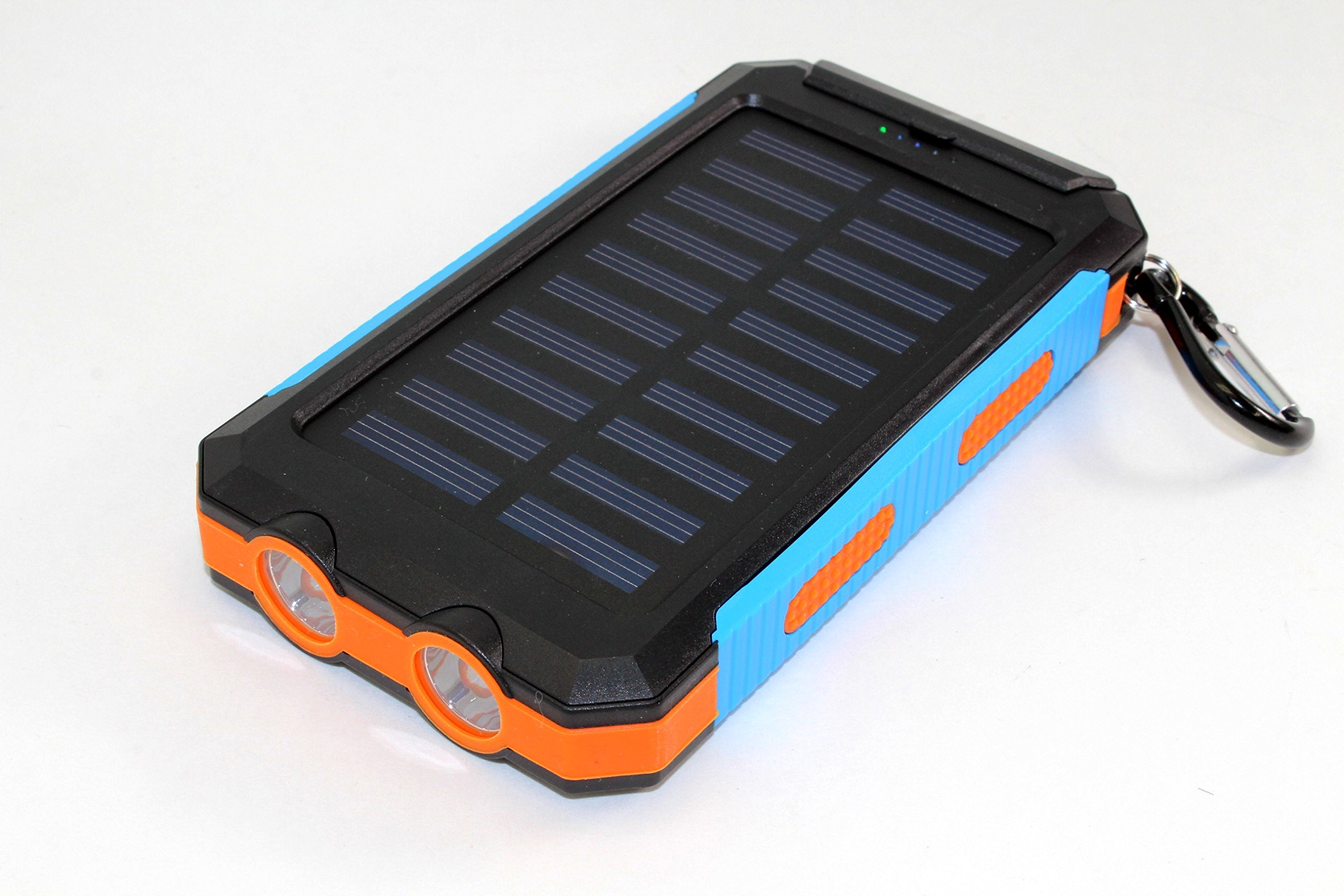 Solar Charger, Solar Power Bank 30000mAh External Backup Battery Pack Dual USB Solar Panel Charger with Flashlight Compass Portable for Emergency Outdoor Camping Travel (Black - Orange - Blue)