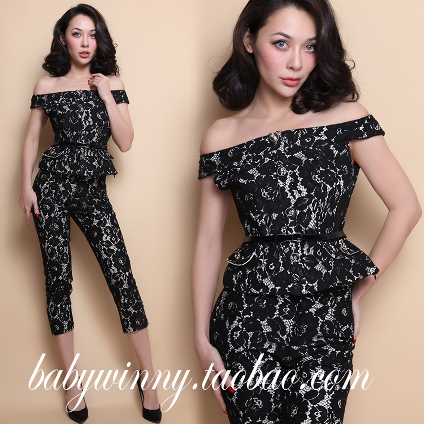 FREE SHIPPING 2016 New Vintage Elegant Black Lace Spandex Strapless Short Top Shirt And Package Hip