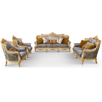 Wooden Hand Carved Upholstery Fabric Sofa Set 7 Seater