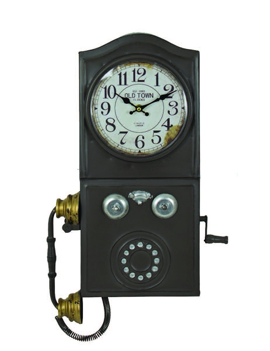 Get Quotations · Vintage Style Tin Telephone Wall Clock Kitchen Retro  Decorative Wall Clocks Antique