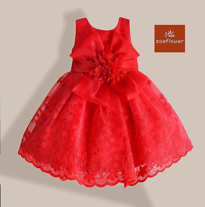 Zoeflower Girl Dress 92801 Children Clothes Flower Bowknot Embroidery Gauze Party Dress Girl Sundress 1 5T
