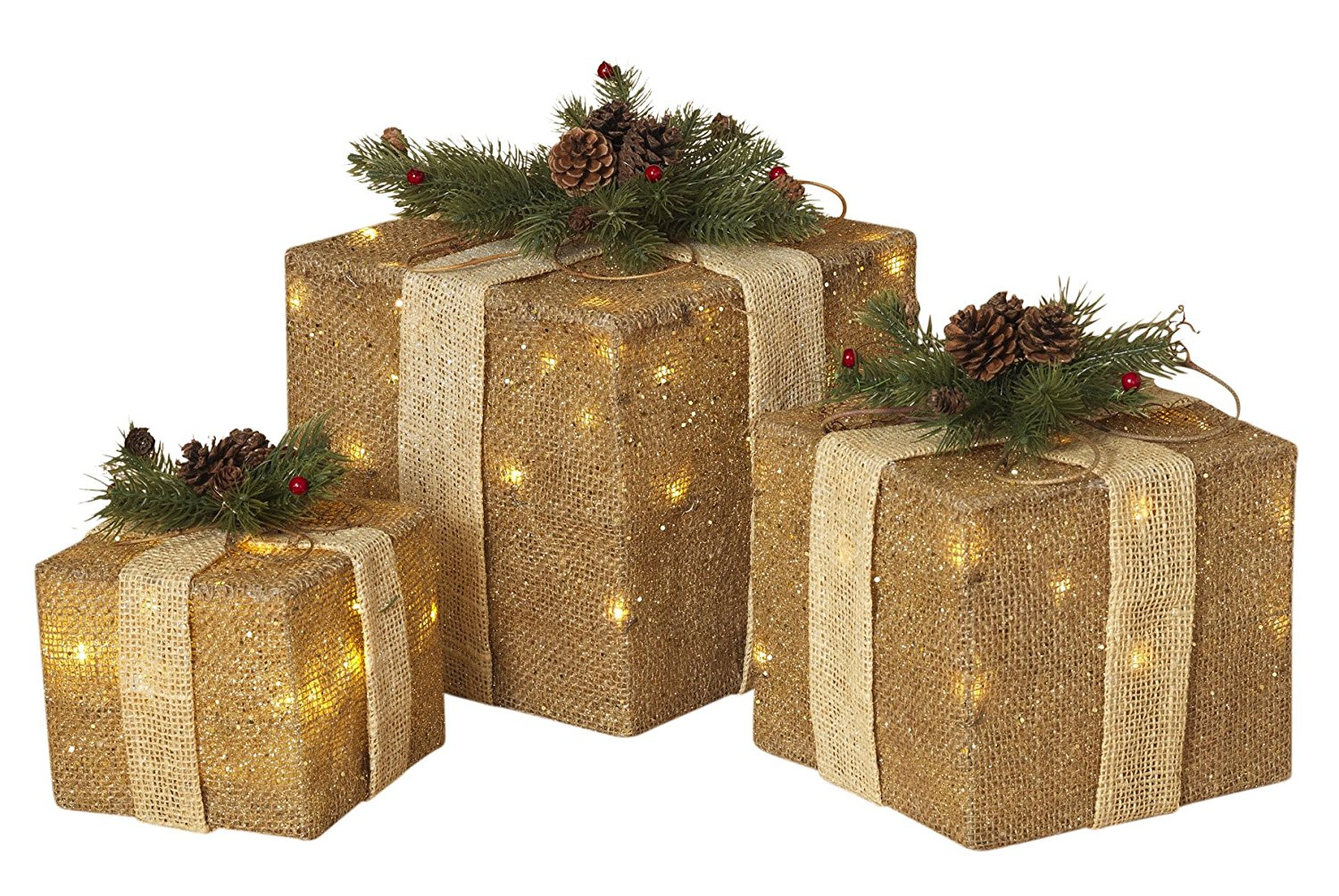 get quotations set of 3 large lighted burlap holiday gift boxes indooroutdoor christmas decoration - Decorative Christmas Gift Boxes With Lids