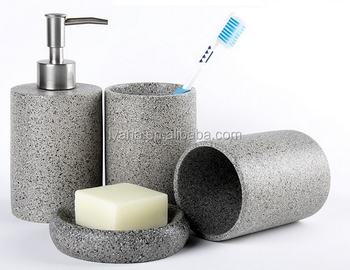 Faux Stone Resin Bathroom Set,bathroom Accessory Set