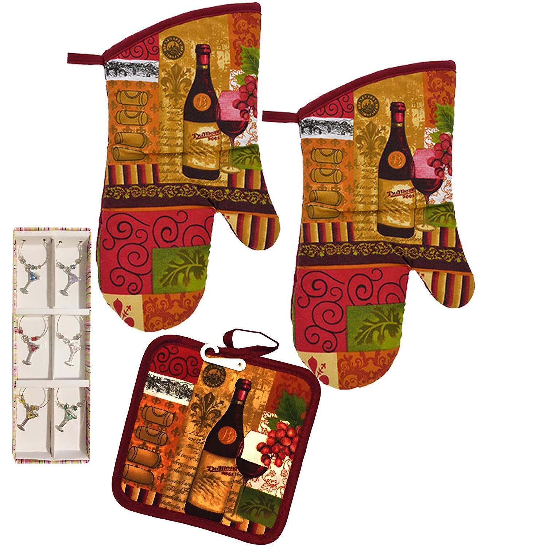 Dublin's Treasure Isle Kitchen Oven Mitt Pot Holder Set Kitchen Linens Pack with wine charms (Wine Lovers)
