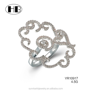New Arrival Flower Shape Gold Ring Design ,Fashionable Ladies' Finger Ring , Latest Silver Ring
