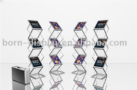 Outdoor Display Folding Steel Fittings Aluminum Frame Literature Display Rack with A3 Size Newspaper