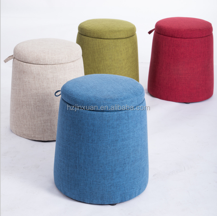 Cool Wholesale Home Furniture Fancy Round Storage Small Round Fabric Stool Ottoman Fabric Storage Ottoman Round Storage Ottoman Buy Round Fabric Machost Co Dining Chair Design Ideas Machostcouk