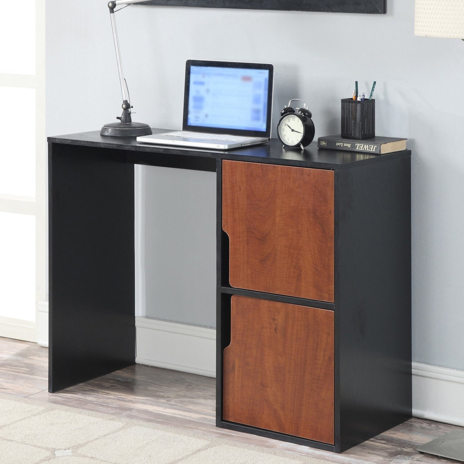 Get Quotations · Cherry Black Student Desk Residential Desks For Bedroom  Furniture School Work Small Study College Students With