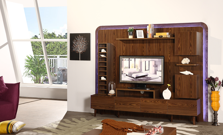Wooden New Model Tv Cabinet With Showcase Living Room Led Wall Unit Designs