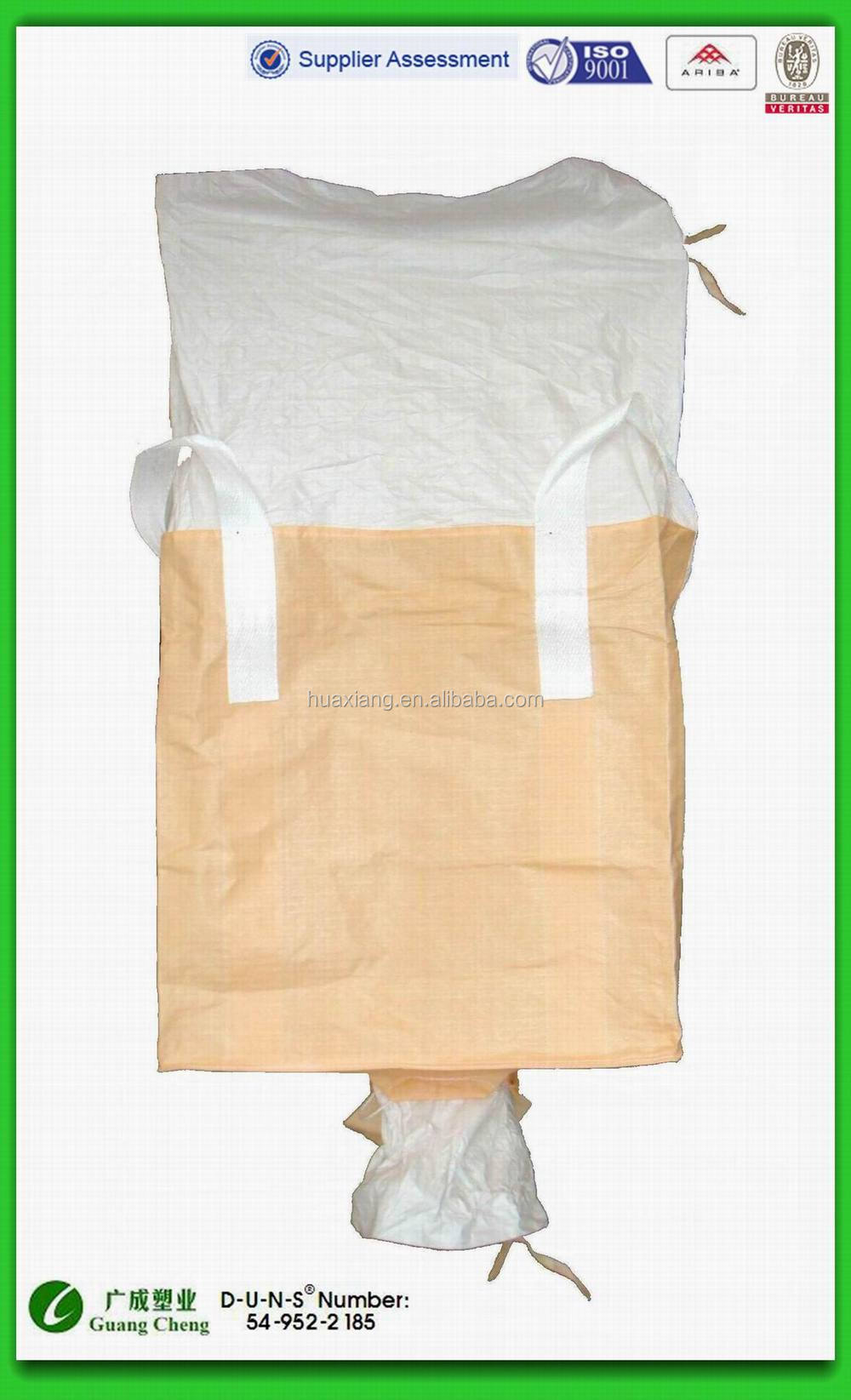 Bulk Bag with Duffle Top and Discharge Spout Valve One time used FIBC Big gc01