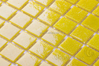 yellow dots glass mosaic tile for wall