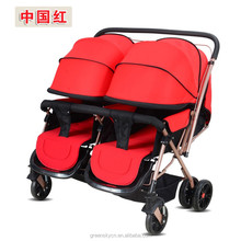 2017 Fashionable design baby twin stroller,good double baby stroller EN1888 Certificated
