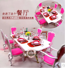 New Christmas gift play house toys for children furniture for doll Dinner Room Set for barbie doll,accessories for barbie