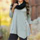 Women Oversized Round Neck Solid Long Sleeve Shirt Button Tunic Tops