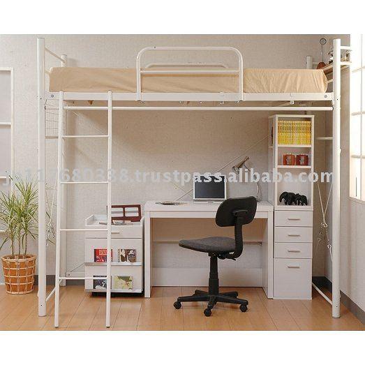 Marco de metal cama litera con espacio de almacenamiento - Litera con escritorio debajo ...