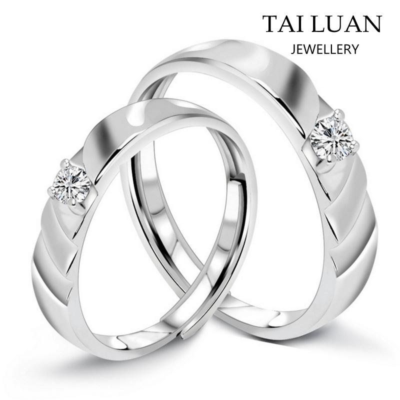 Newst Design Adjustable Couple Wedding Rings 925 Silver Diamond