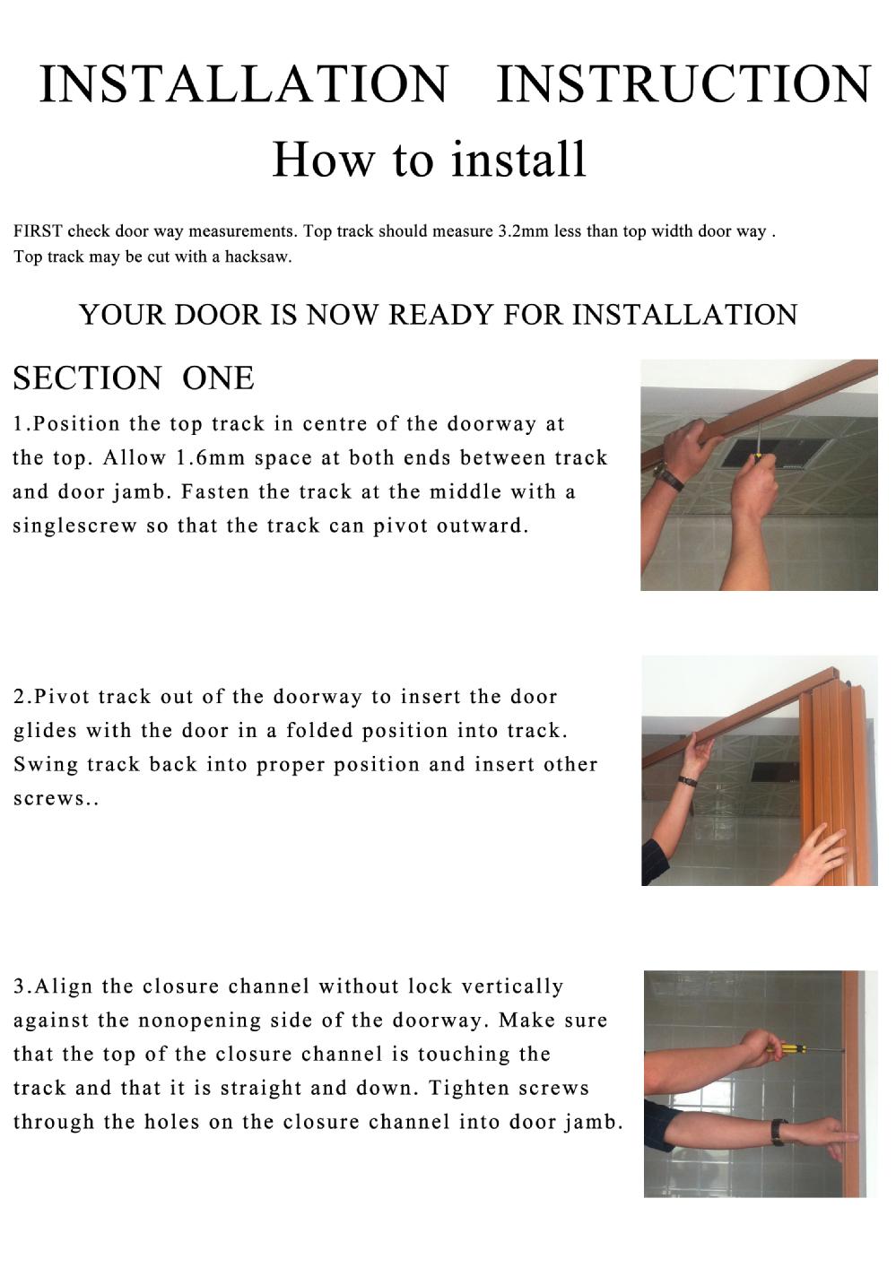 How to install a sliding bathroom door - Bathroom Pvc Sliding Accordion Door With Lock