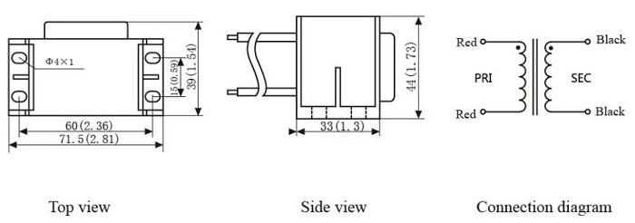 12va 220v 230v 240v plate mounting power transformer