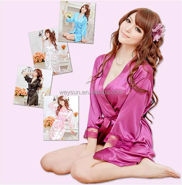 Sexy Women Silk Satin Robe,Wedding Bride Bridesmaid Lingerie Set Sleepwear Nightgown,