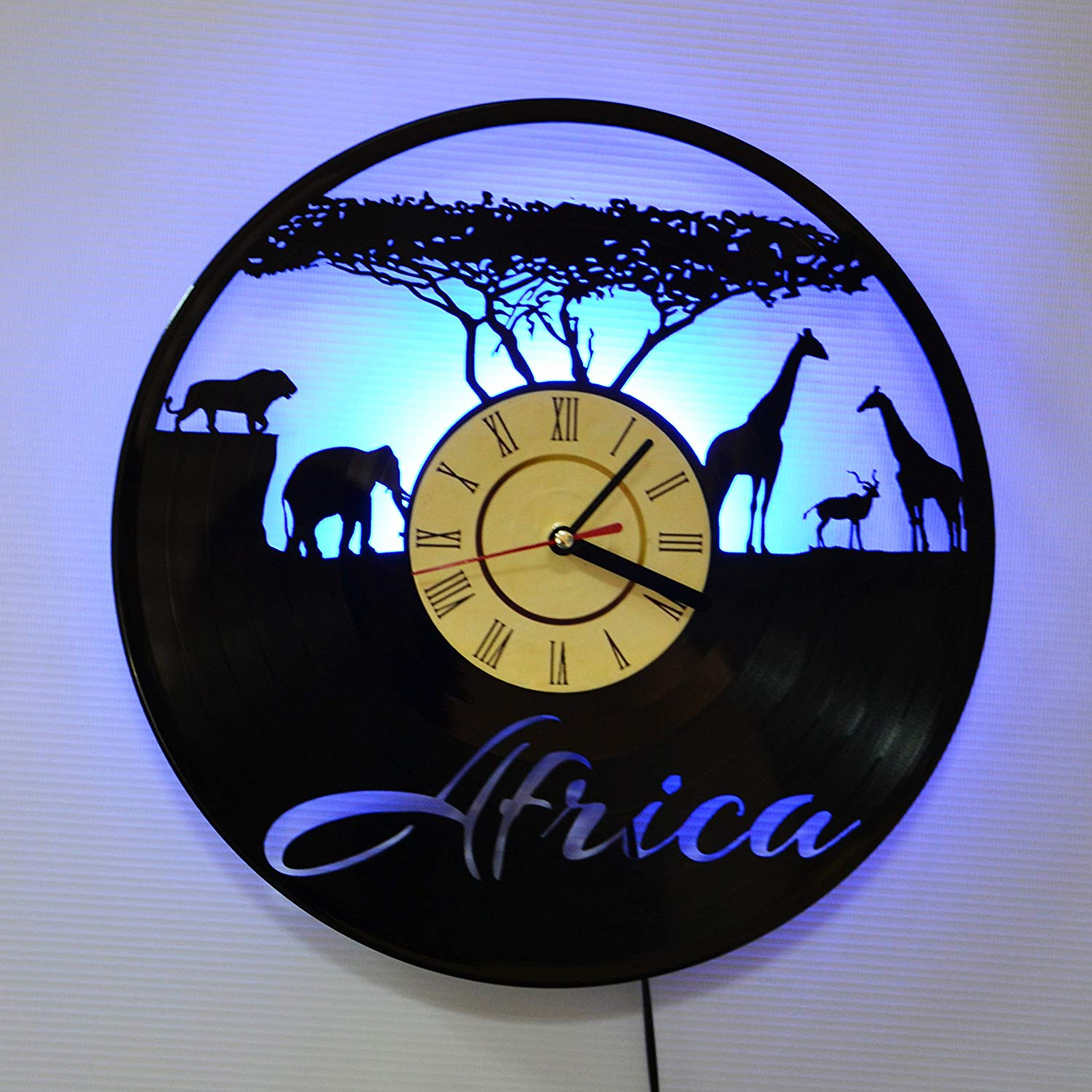 AFRICA LED Backlight Vinyl Wall Clock Night Color Change Atmosphere Light Lamp Creative Classic Cool Living Room Interior Decor Led Time Clock With Color Blue Light