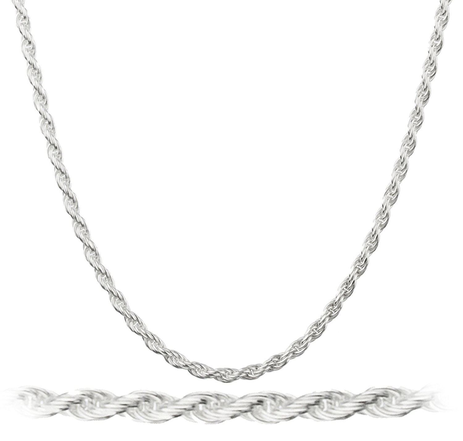 "Italian Silvertone 1.5mm Rope Chain Nickel Free - Available in 7"" 8"" 9"" 10"" 16"" 18""to 24"" 30"" or 40"" (C0-P3QY-YKK4)"