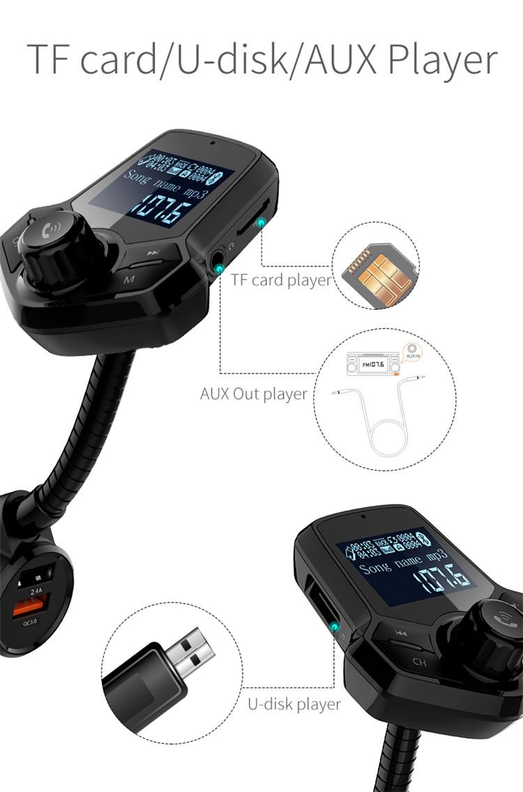 12-24 V auto trasmettitore fm per auto dente blu, hands free car kit bluetooth trasmettitore bluetooth fm