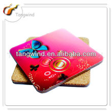 OEM factory Personalized square cork Coaster in pink made in Zhejiang TWC0530
