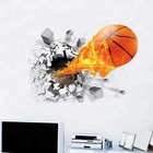 Hot Sale Flaming Flying Basketball Wandsticker 3D Effect Home Decal Removable PVC Wall Sticker