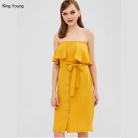 KY wholesale club night party knee length midi Ruffles button front summer off shoulder Strapless Dress