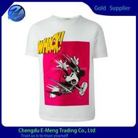 Funny pattern print cheap white t shirts in bulk for boys
