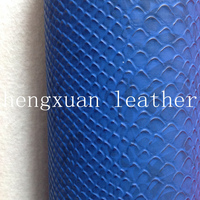 Embossed Synthetic Snake Skin Leather For Bags In Blue Color --HX169