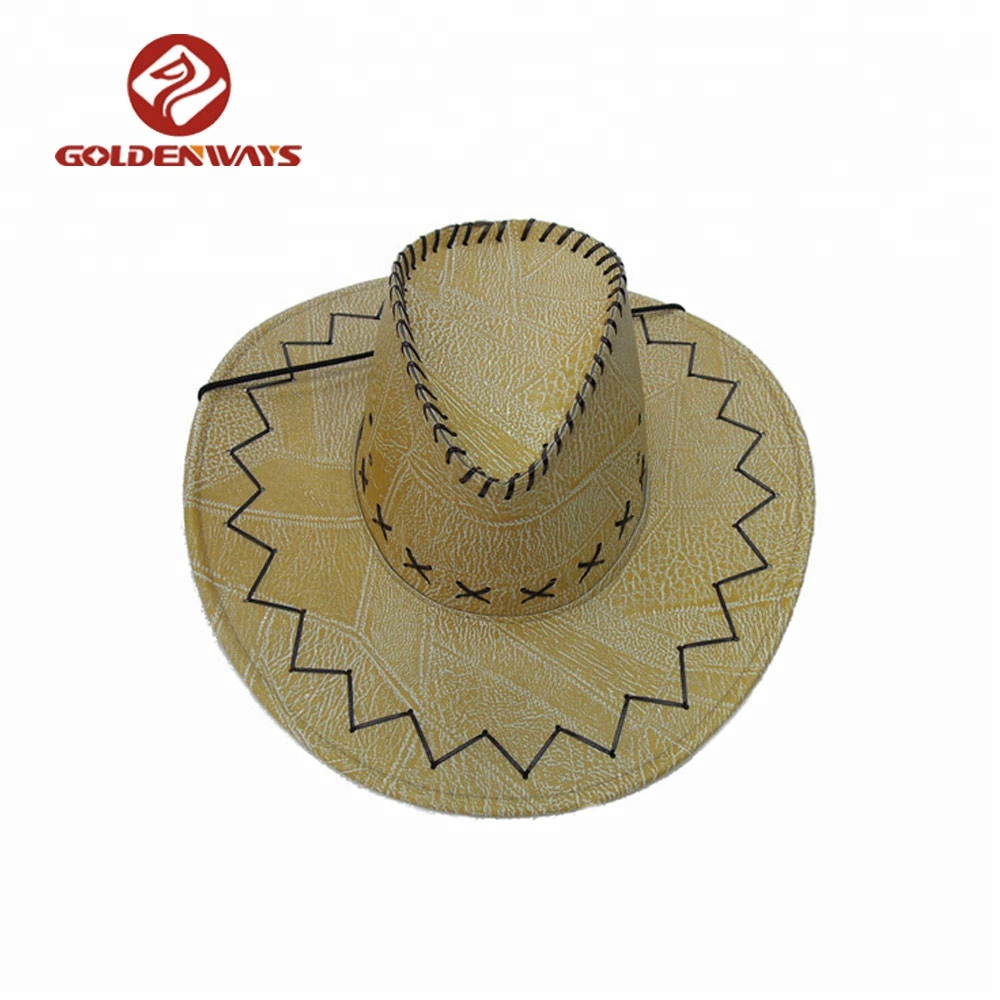 2d8f4552 Best selling unisex adjustable yellow leather cowboy hats made in mexico