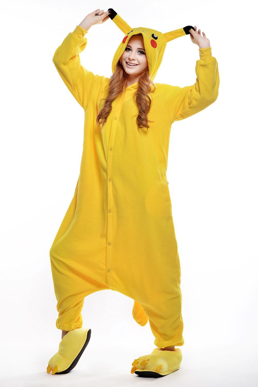 Get Quotations · Novelty Adult Polar Fleece Pikachu Onesie  Pajamas  Plus  Size Jumpsuit  Halloween Costumes for dc73169fc4