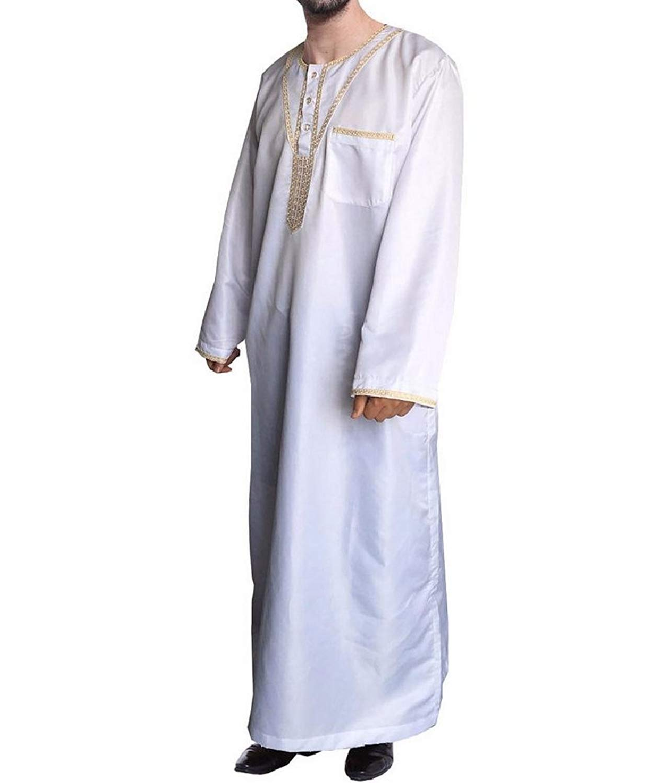 Fubotevic Mens Dubai Muslim Short Sleeve Embroidery Saudi Abaya Robe