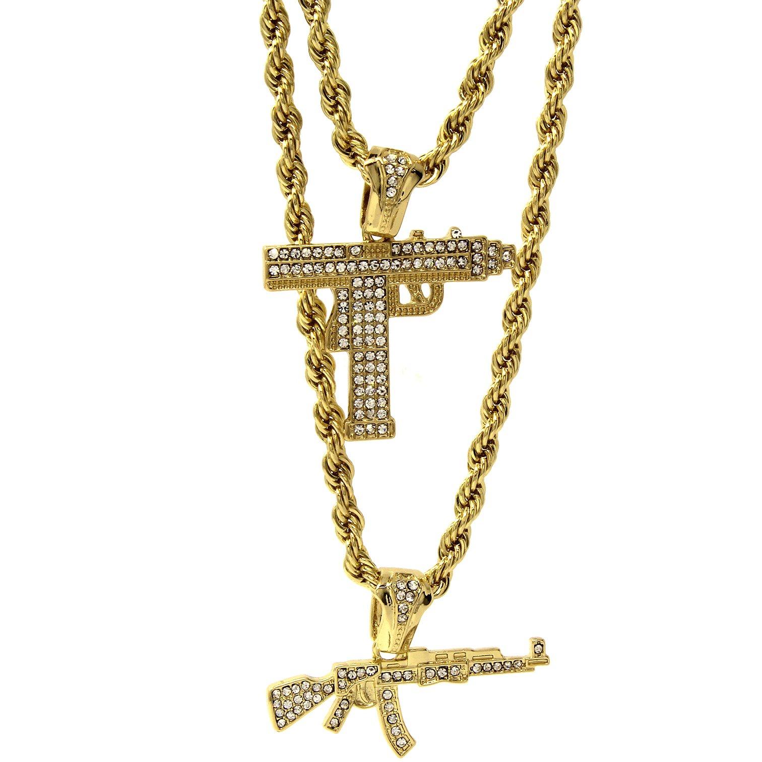"""14k Gold Plated Uzi / AK47 Bundle Set Hip Hop Cz Pendant Hip Hop 24"""" & 30"""" Rope Chain D692"""