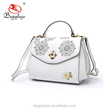 FJ36-017 China suppliers wholesale OEM white PU laser bag flower  embroidered fancy ladies handbags