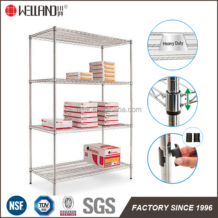 NSF Approval 4 Tiers Chrome Wire Rack Office Metal Display Shelf For Shelving Sale
